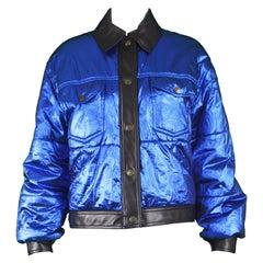 Moschino Vintage Metallic Blue Lamé Women's Bomber Puffer Jacket , 1990s