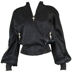 Thierry Mugler Vintage Women's Black Satin Crop Bomber Flight Jacket, 1990s
