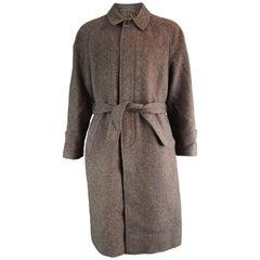 Louis Feraud Men's Vintage Brown Italian Wool Tweed Fly Front Overcoat, 1980s