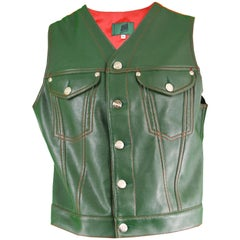 Jean Paul Gaultier Men's Green Faux Leather Vest with Red Taffeta Back, 1980s