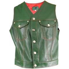 Jean Paul Gaultier Men's Green Faux Leather Vest with Red Taffeta Back, 1980s