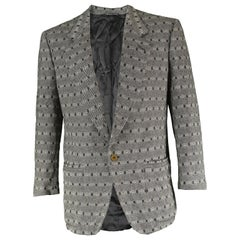 Gianni Versace Men's Herringbone Pattern Wool Jacquard Blazer Jacket, 1980s
