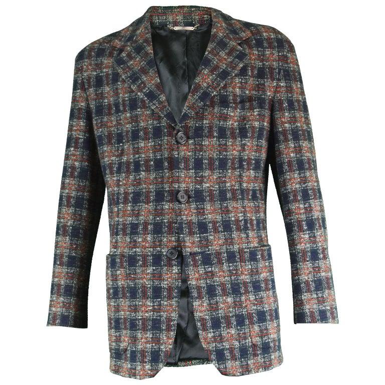 Dolce & Gabbana Vintage Men's Italian Wool & Cotton Plaid Blazer Jacket, 1990s