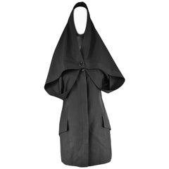 Early John Galliano Black Avant Garde Cape Dress Made in Britain, 1980s