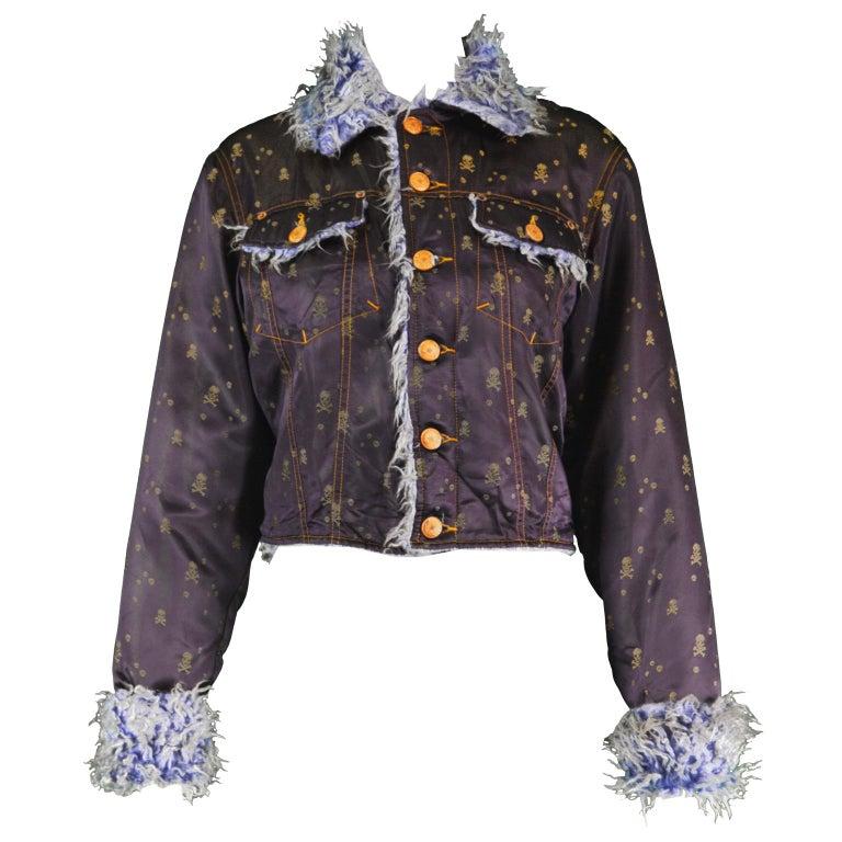 Jean Paul Gaultier Vintage Skull & Crossbones Satin Jacquard & Faux Fur Jacket