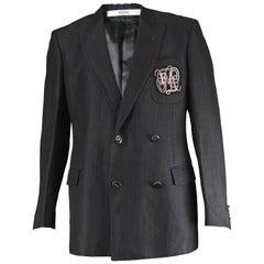 Gianfranco Ferré Men's Embroidered Wool & Ramie Double Breasted Blazer Jacket 50