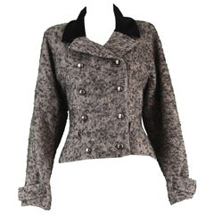Chloé by Karl Lagerfeld Vintage Gray Wool Bouclé Tweed & Velvet Jacket, 1980s