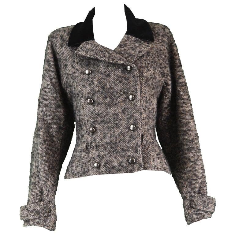 Chloé by Karl Lagerfeld Vintage Gray Wool Bouclé Tweed & Velvet Jacket, 1980s For Sale