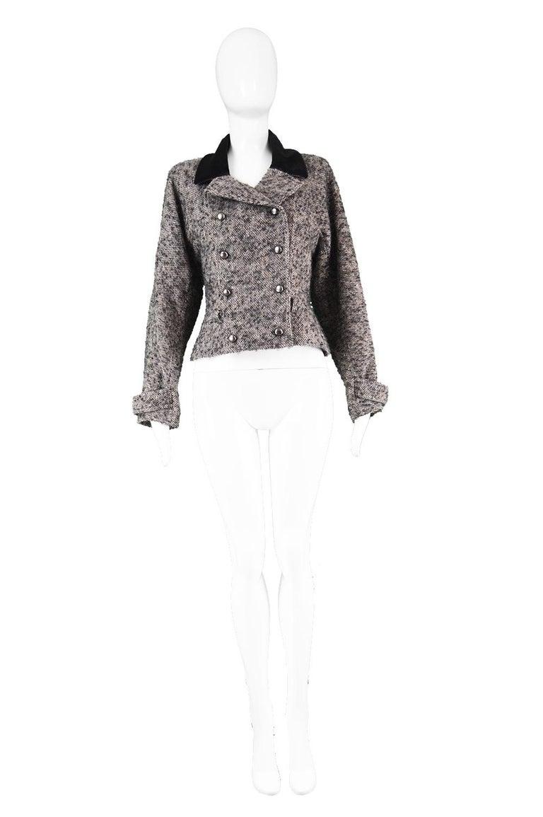 "Chloé by Karl Lagerfeld Vintage Gray Wool Bouclé Tweed & Velvet Jacket, 1980s  Estimated Size: UK 8-10/ US 4-6/ EU 36-38. Please check measurements.  Bust - 34"" / 86cm Waist - 30"" / 76cm Length (Shoulder to Hem) - 21"" / 53cm Sleeve Pit to Cuff - 18"""