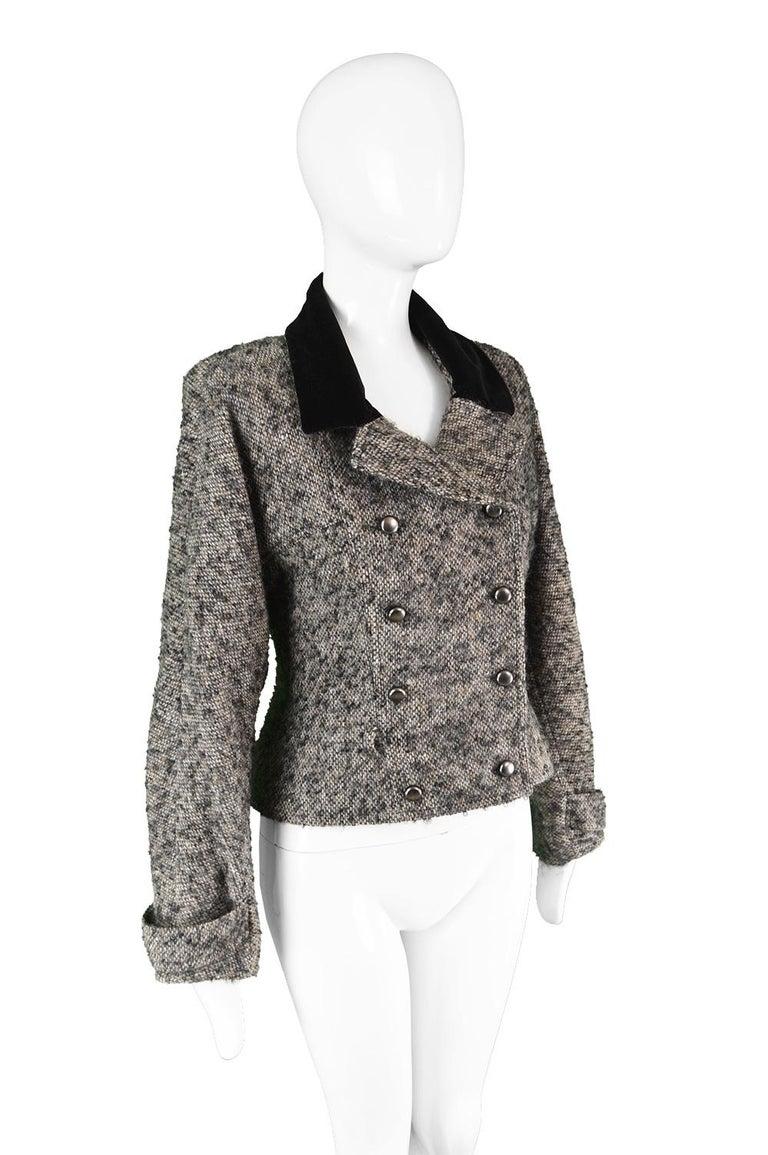 Chloé by Karl Lagerfeld Vintage Gray Wool Bouclé Tweed & Velvet Jacket, 1980s For Sale 1