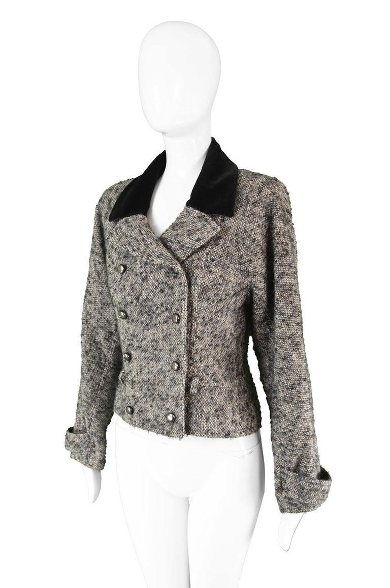 Chloé by Karl Lagerfeld Vintage Gray Wool Bouclé Tweed & Velvet Jacket, 1980s For Sale 2