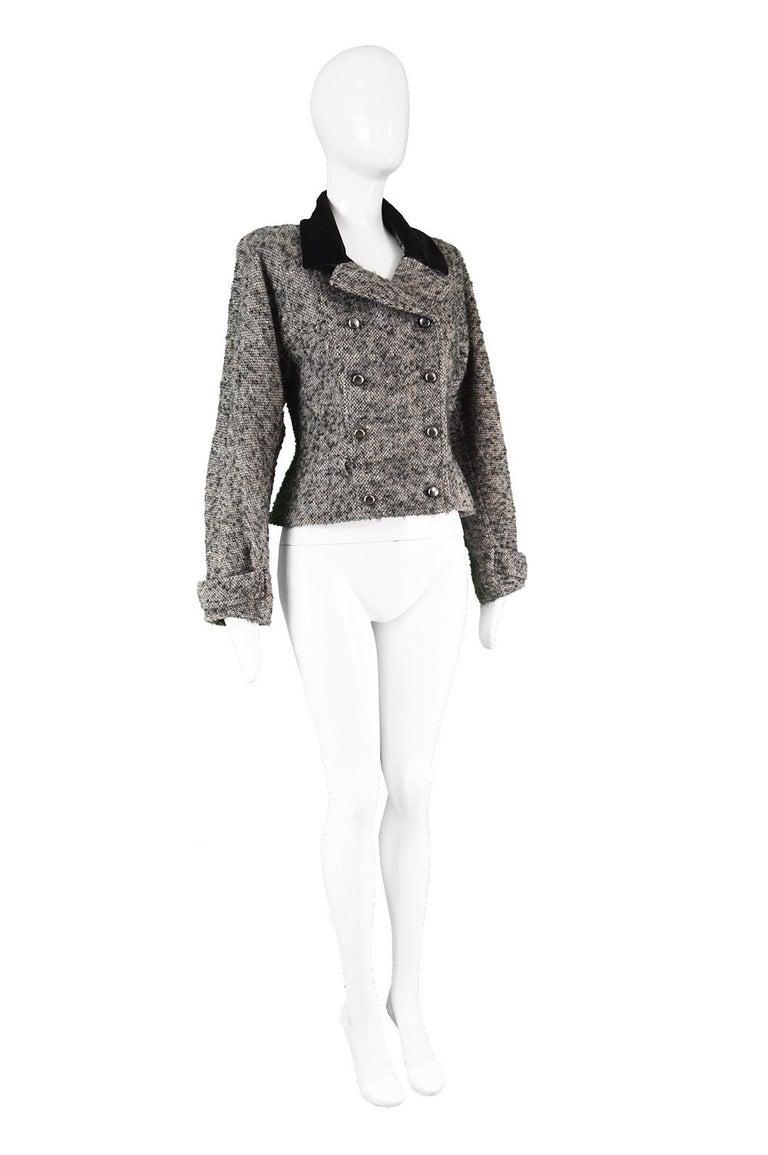 Women's Chloé by Karl Lagerfeld Vintage Gray Wool Bouclé Tweed & Velvet Jacket, 1980s For Sale