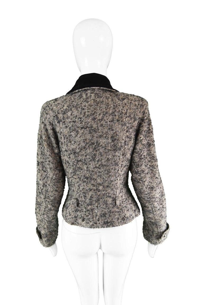 Chloé by Karl Lagerfeld Vintage Gray Wool Bouclé Tweed & Velvet Jacket, 1980s For Sale 3