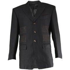 Claude Montana Men's Vintage Eyelet Detail Black Linen Blazer Jacket, 1980s