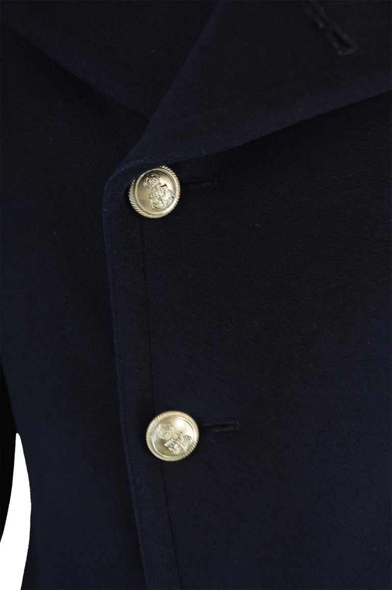 8b8e67186ab Gieves Men s Dark Blue Vintage Heavy Wool Naval Military Coat