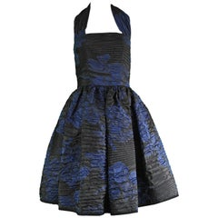 Oscar de la Renta Blue & Black Textured Silk Blend Evening Party Dress, 2010