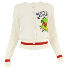 JC de Castelbajac 'The Muppets' Cream Virgin Wool Knit Cardigan Sweater NWT