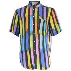 Pancaldi & B Men's Pure Silk Short Sleeve Rainbow Striped Vintage Shirt, 1980s