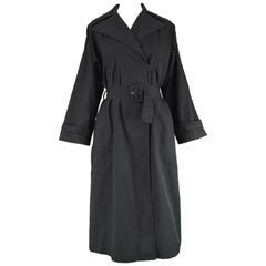 Guy Laroche Vintage Minimalist Women's Black Cotton Trench Coat, 1980s