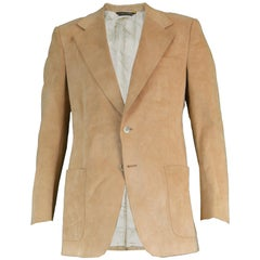 Halston for I. Magnin Men's Vintage 'Halsuede' Brown Blazer Jacket, 1970s