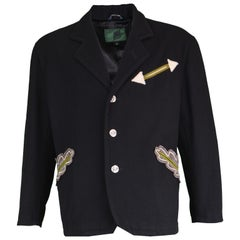 Jean Paul Gaultier Black Men's Appliquéd Wool Blend Jacket