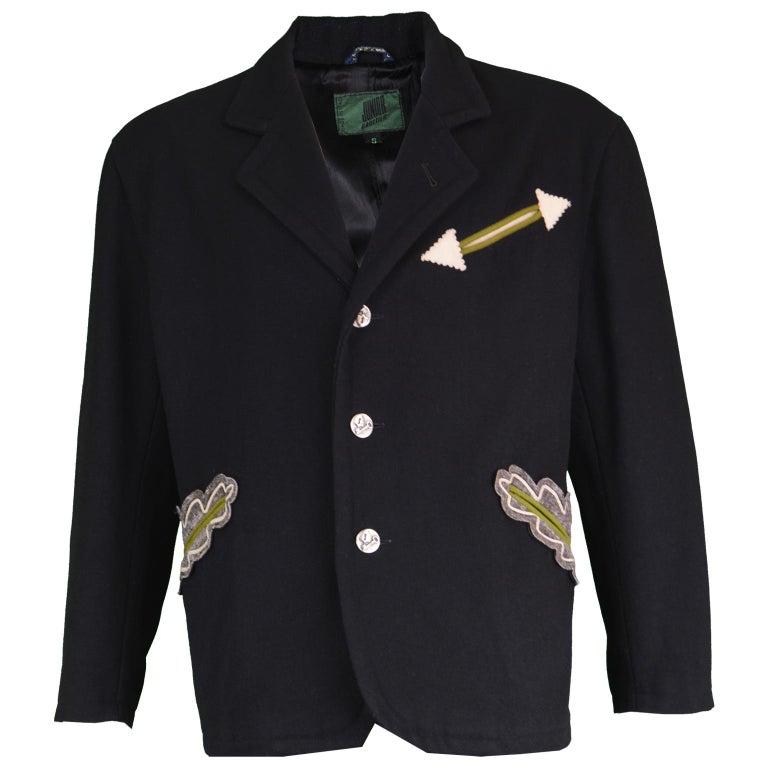 Jean Paul Gaultier Black Men's Appliquéd Wool Blend Jacket