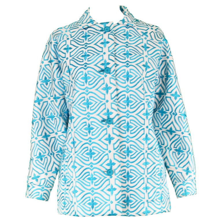 Givenchy Vintage White Vinyl & Turquoise Embroidered Coat, 1960s