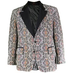 After Six Men's Vintage Tapestry Blazer Jacket with Satin Lapels, 1970s