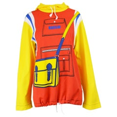 Kansai Yamamoto Vintage Trompe L'oeil Unisex Hooded Long Sleeve T shirt, 1980s