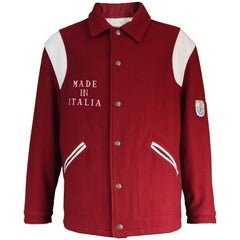 Moschino Vintage 'Made in Italia' Wool & Faux Leather Mens Letterman Jacket