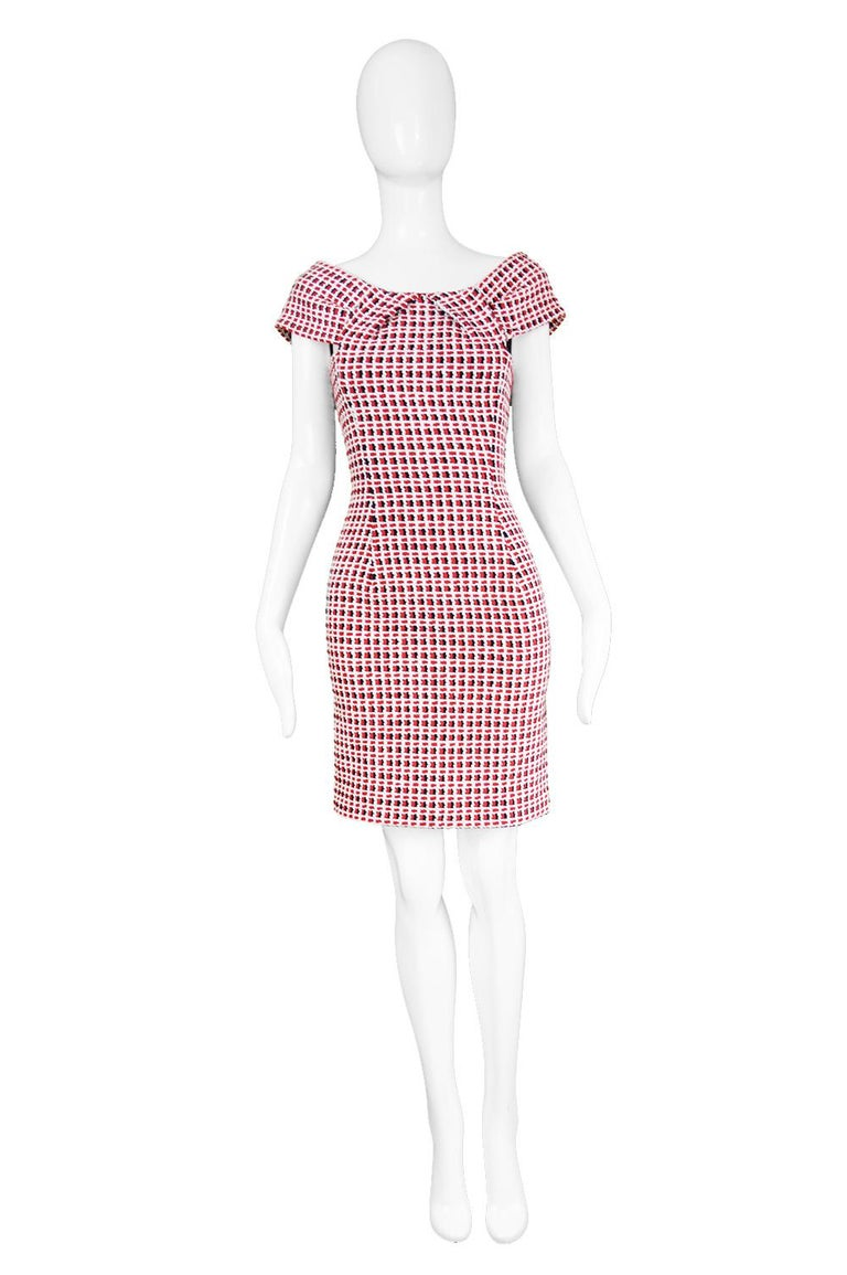 "Odicini Couture Woven Red White & Black Ribbon Bardot Party Dress, 1990s  Estimated Size: UK 6/ US 2/ EU 34. Please check measurements. Bust - 32"" / 81cm Waist - 25"" / 63cm Hips - 34"" / 86cm Length (Bust to Hem) - 27"" / 68cm  Condition: Excellent"