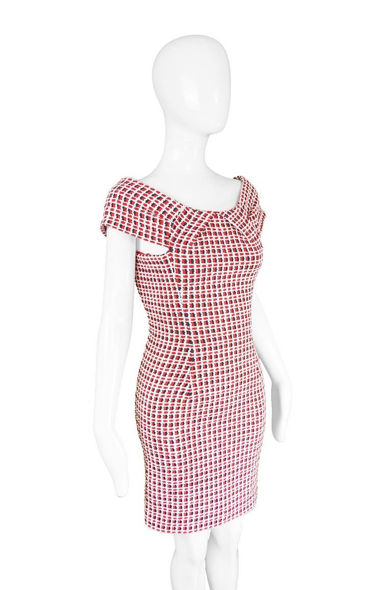 Women's Odicini Couture Woven Red White & Black Ribbon Bardot Party Dress, 1990s For Sale