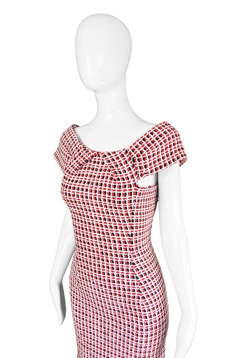 Odicini Couture Woven Red White & Black Ribbon Bardot Party Dress, 1990s In Excellent Condition For Sale In Doncaster, South Yorkshire