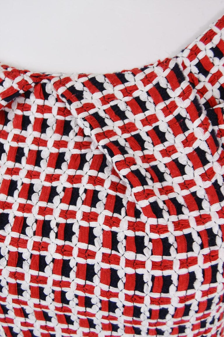 Beige Odicini Couture Woven Red White & Black Ribbon Bardot Party Dress, 1990s For Sale