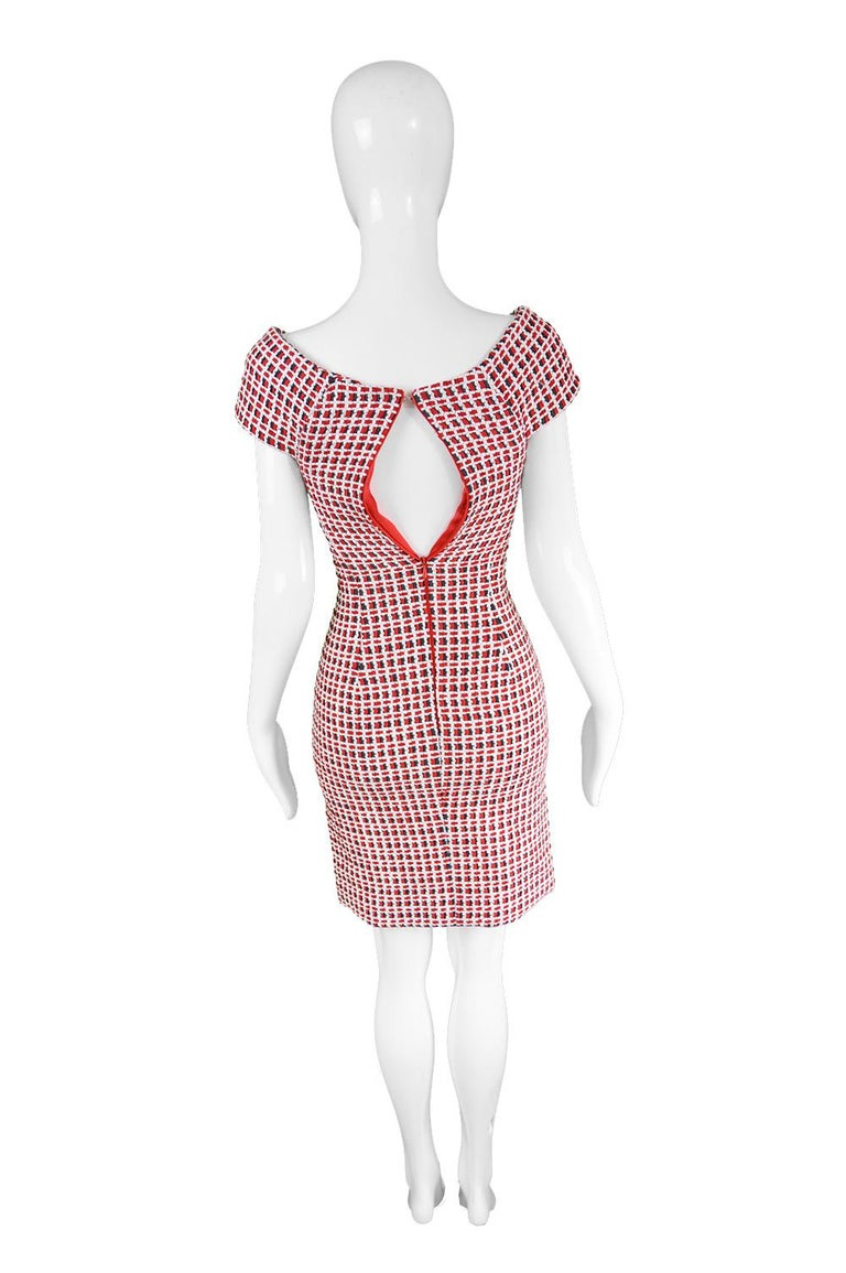Odicini Couture Woven Red White & Black Ribbon Bardot Party Dress, 1990s For Sale 1
