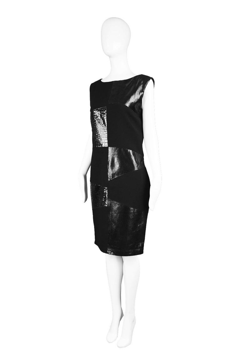 Women's Genny Vintage Wool Crepe & Patent Leather Panelled Shift Dress, 1990s For Sale