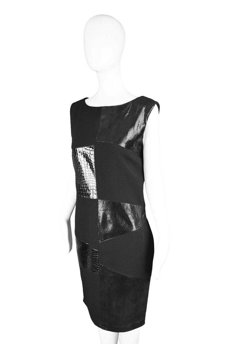 Genny Vintage Wool Crepe & Patent Leather Panelled Shift Dress, 1990s For Sale 1