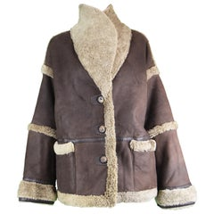 Vakko Vintage Women's Reversible Sheepskin Suede & Shearling Coat, 1980s