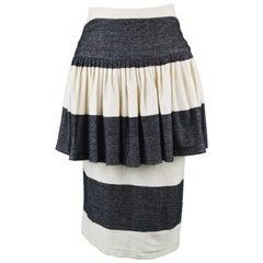 Norma Kamali Vintage Grey & Cream Cotton Jersey Avant Garde Peplum Skirt, 1980s