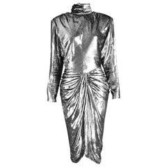 Vicky Tiel Silver Lamé Velvet Vintage Draped Evening Dress, 1980s
