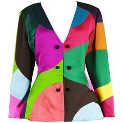 Oscar de la Renta Vintage Multicolored Color Block Satin Jacket, A/W 1991