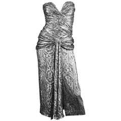 Vicky Tiel Silver Lamé Ruched Party Dress, 1980s