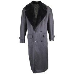 Byblos Men's Vintage Fine Grey Wool Overcoat with Black Faux Fur Collar, 1990s