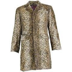 William Hunt Men's Vintage Faux Fur Animal Print Drape Jacket, 1980s