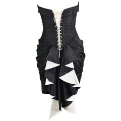 Sarah Whitworth Pure Silk Dupion Black & White Gothic Bustle Vintage Party Dress