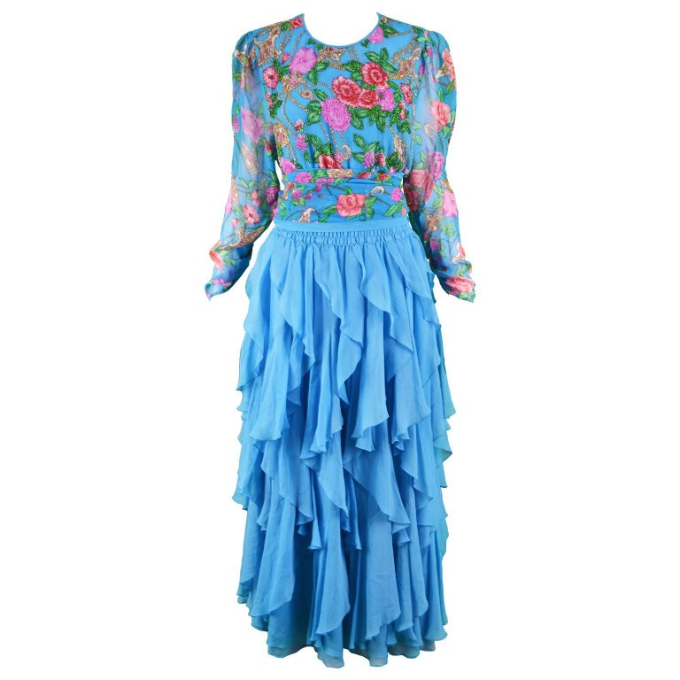 Diane Freis Vintage 1980's Beaded Blue Ruffle Silk Floral Georgette Dress For Sale