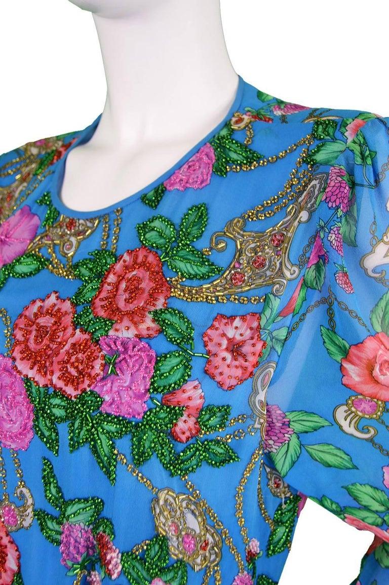 Women's Diane Freis Vintage 1980's Beaded Blue Ruffle Silk Floral Georgette Dress For Sale