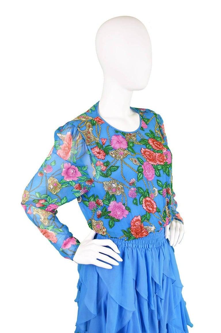Diane Freis Vintage 1980's Beaded Blue Ruffle Silk Floral Georgette Dress For Sale 1