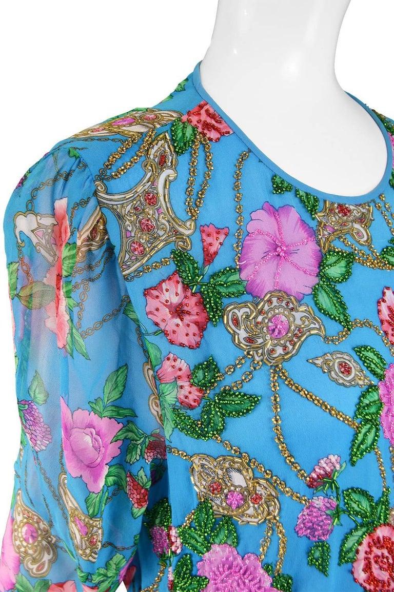 Diane Freis Vintage 1980's Beaded Blue Ruffle Silk Floral Georgette Dress For Sale 2
