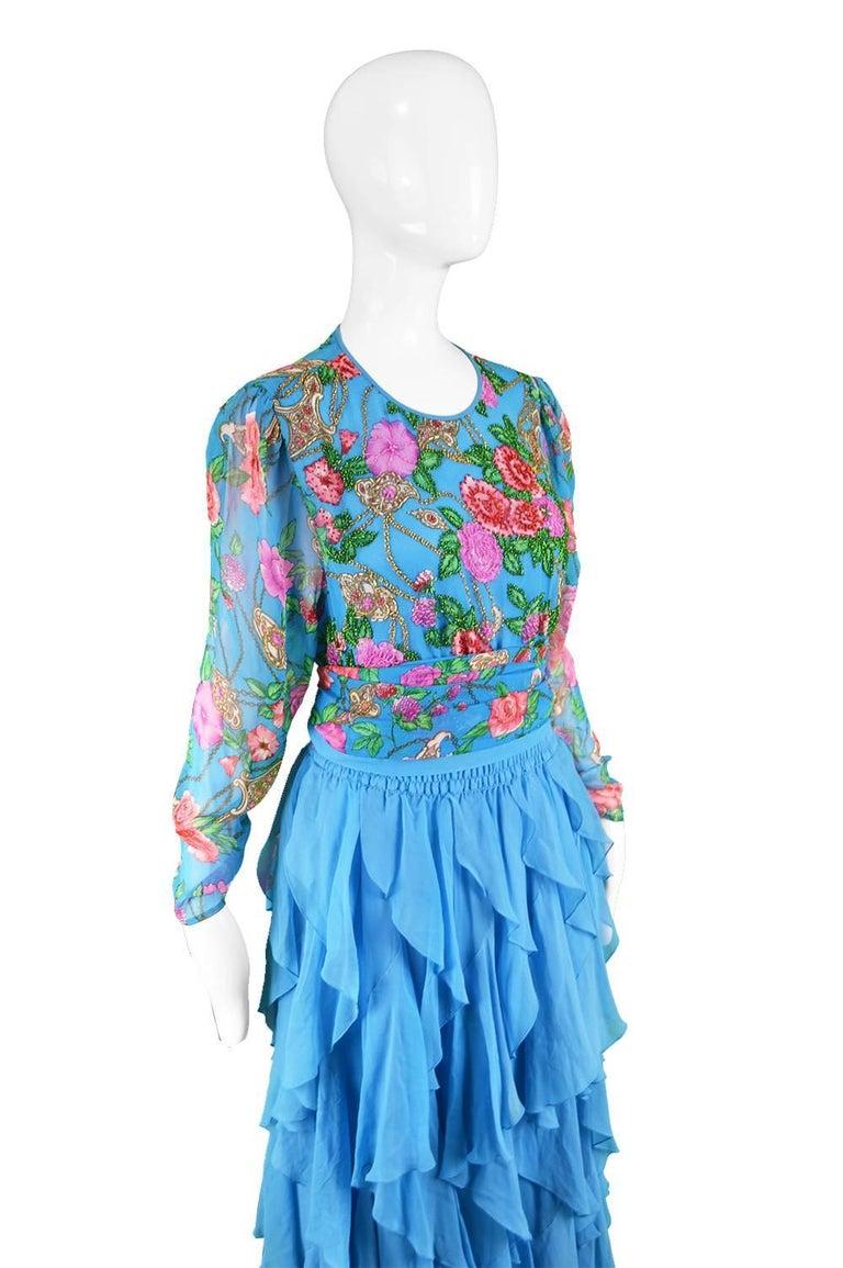 Diane Freis Vintage 1980's Beaded Blue Ruffle Silk Floral Georgette Dress For Sale 3
